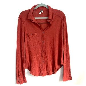 Free People Linen Button Down Red